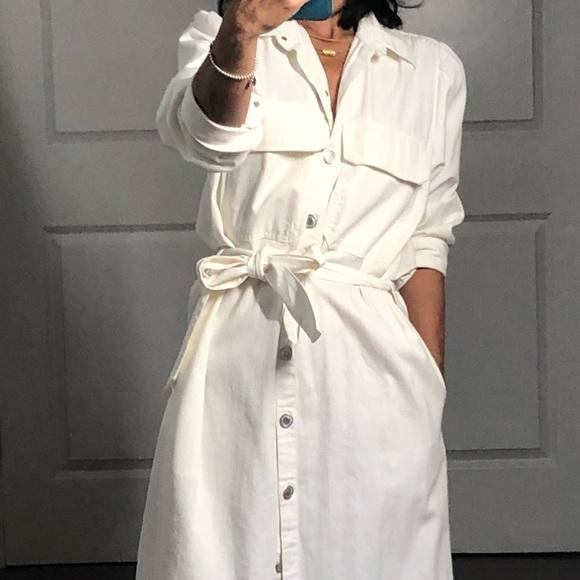 Zara Long White Denim Shirt Dress